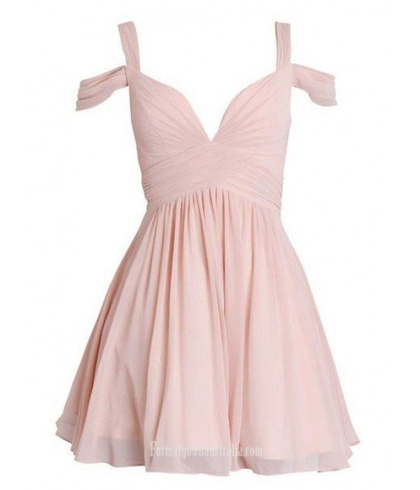 A-line Queen Anne Ruched Short Chiffon Semi Formal Dress New Arrival