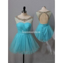 Modern A Line Beading Short Open Back Mini Formal Homecoming Dress
