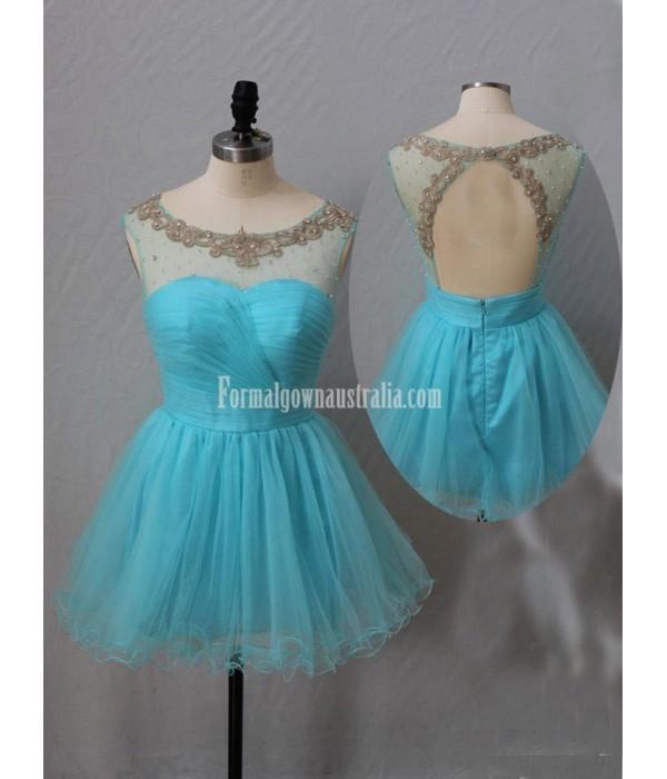 Modern A-Line Beading Short Open Back Mini Formal Homecoming Dress New Arrival