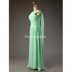A-line One Shoulder Chiffon Empire Long Mint Backless Formal Prom Dress With Ruffles