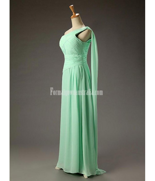 A-line One Shoulder Chiffon Empire Long Mint Backless Formal Dress Prom Dress With Ruffles New Arrival