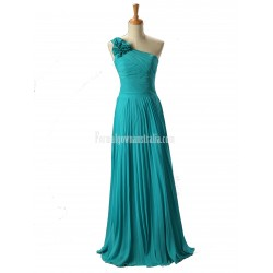 A-Line Floor Length One Shoulder Chiffon Lace-up Back Sleeveless Formal Evening Dress