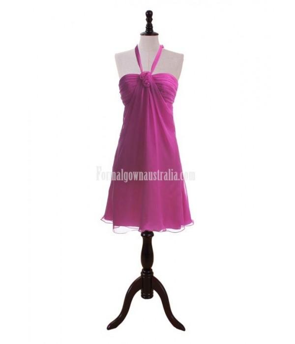 Custom Made Hand Made Flowers Halter-neck Fuchsia Short Formal Dress Prom Dresses New Arrival