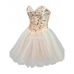 A Line Sweetheart Mini Chiffon Sequin Formal Dress