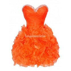 Cute short orange corset puffy prom formal homecoming party dress