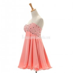 A-line Sweetheart Short Chiffon Lace-up Beading Formal Homecoming Dress