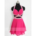 Handmade Sexy Halter Fuchsia Chiffon Short Open Back Formal Dress Prom Dress/ Cocktail Dress New