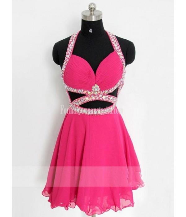 Handmade Sexy Halter Fuchsia Chiffon Short Open Back Formal Dress Prom Dress/ Cocktail Dress New