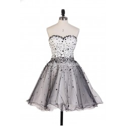 Hot Sales Black And White Ball Gown Mini Short Strapless Tulle Formal Prom Dress Vestidos De Fiesta