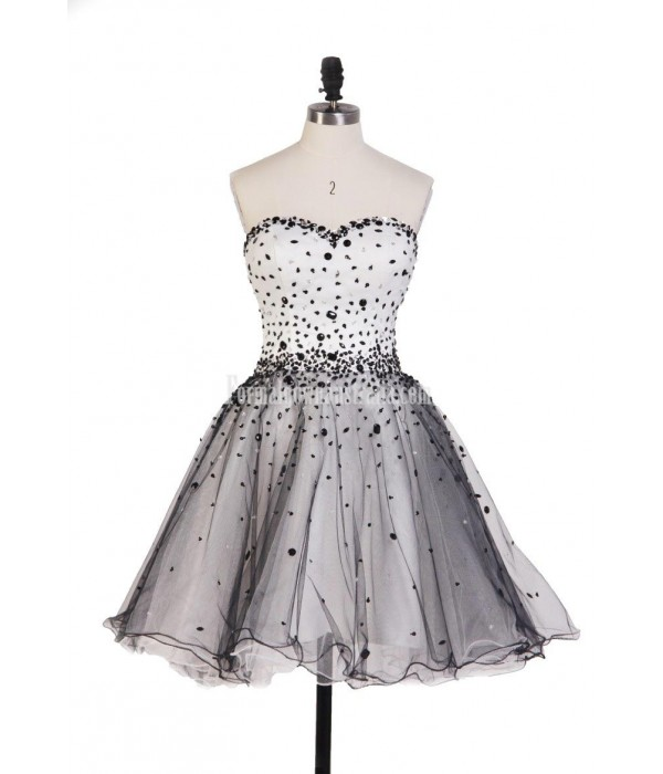 Hot Sales Black And White Ball Gown Mini Short Strapless Tulle Formal Dress Prom Dress Vestidos De Fiesta New