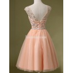 A-line Short Homecoming Dresses Scoop Peach Prom Dress Beading Mini Formal Dress Party Dresses Custom Made New