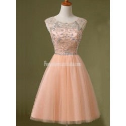 A-line Short Homecoming Dresses Scoop Peach Prom Dress Beading Mini Formal Party Dresses Custom Made