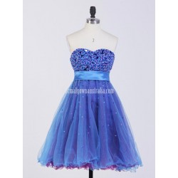 A Line Sweetheart Sleeveless Short Tulle Belt Formal Homecoming Dress Bridesmaid Dress With Sequines