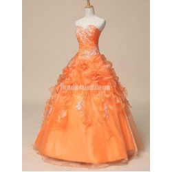 Real Puffy Sweetheart Ruched Bodice Floor Length Long Victorian Ball Gown Formal Dress Prom Dresses With Appliques