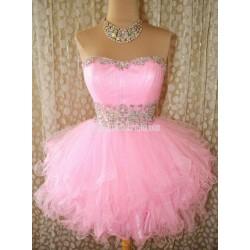 Custom Made Pink Puffy Waist Belt Bead Short/Mini Formal Dress Prom Gown