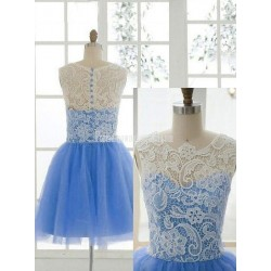 Hot-selling A-line Lace Bodice Party Dress Button Back Sleeveless Knee-length Tulle Formal Homecoming Dress