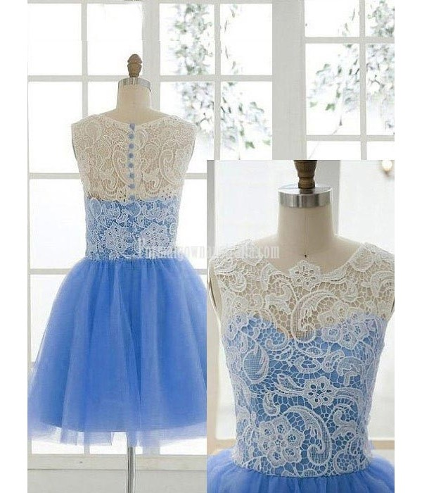 Hot-selling A-line Lace Bodice Party Dress Button Back Sleeveless Knee-length Tulle Formal Homecoming Dress New
