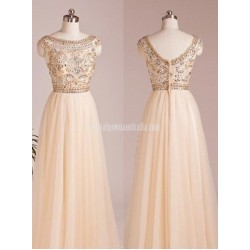 A-line Scoop Capped Floor Length Chiffon Beading Formal Prom Dress