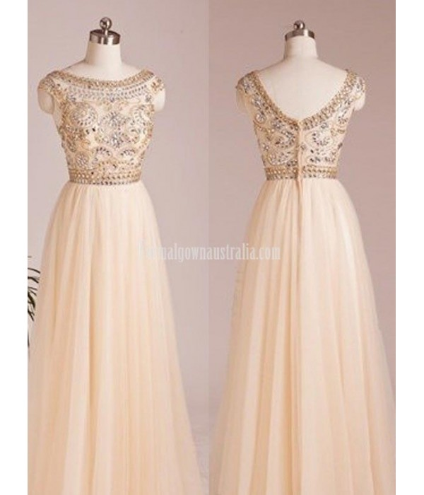 A-line Scoop Capped Floor Length Chiffon Beading Formal Dress Prom Dress New
