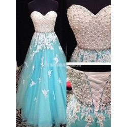 Luxurious A Line Sweetheart Pearl Applique Floor Length Formal Dress Prom Evening Dress