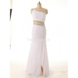 White Evening Gowns Side Slit Mermaid Crystal Diamond Crystal Beading One Shoulder Chiffon Formal Evening Dress