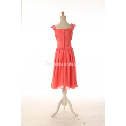 A-line Ruched Zipper-up Tea-length Chiffon Formal Dress Evening Gowns With Sequined