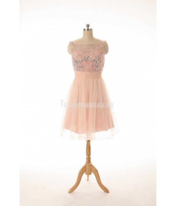 Knee-length Boat-neck Tulle V-back Handmade Beading Formal Dress Party Dress New