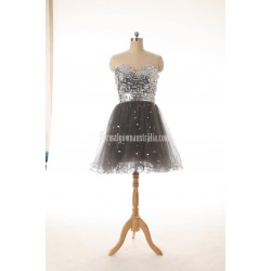 A-line Sweetheart Knee-length Zipper-up Tulle Sequins Formal Dress Party Dress