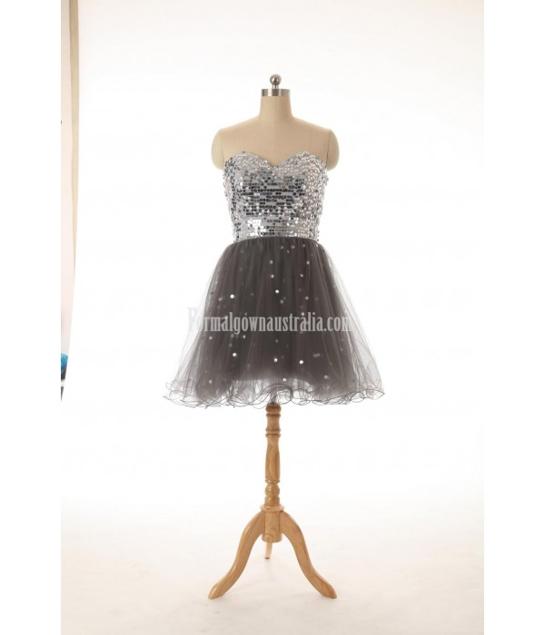 A-line Sweetheart Knee-length Zipper-up Tulle Sequins Formal Dress Party Dress New