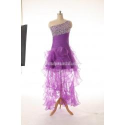 A Line Lace Up One Shoulder Beading Formal Dress Evening Dress