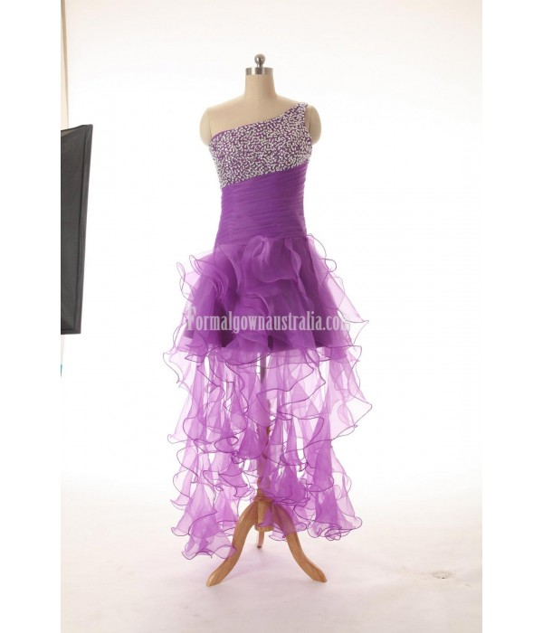 A-line Lace Up One-Shoulder Beading Formal Dress Evening Gowns New