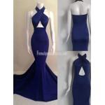 Navy Blue Mermaid Long Open Back Criss Cross Straps-neck Formal Prom Dress New