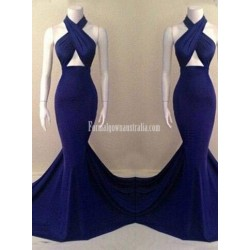 Navy Blue Mermaid Long Open Back Criss Cross Straps-neck Formal Prom Dress