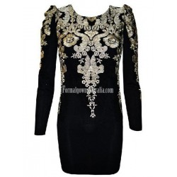 Gold Embroidered Puff Sleeve Minishort Semi Formal Dress