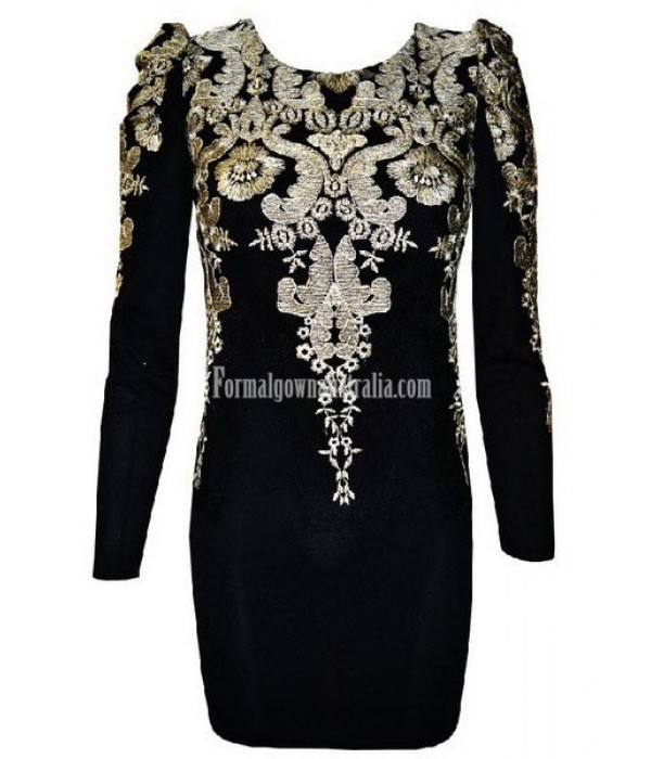 Gold Embroidered Puff Sleeve MiniShort Semi Formal Dress New