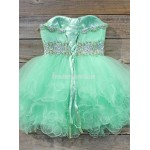 Mint Green Short Formal Homecoming Dress Ball Gown Strapless Beaded Waist Mini Prom Dresses Sweetheart Party Gown New