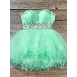 Mint Green Short Formal Homecoming Dress Ball Gown Strapless Beaded Waist Mini Prom Dresses Sweetheart Party Gown