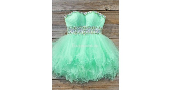 Mint Green Short Formal Homecoming Dress Ball Gown Strapless Beaded Waist Mini Prom Dresses Sweetheart Party
