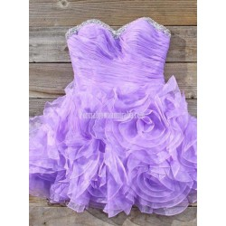 Stunning Short Purple Formal Homecoming Dress Ball Gown Strapless Beaded Waist Mini Prom Dresses Sweet 16 Party Gown