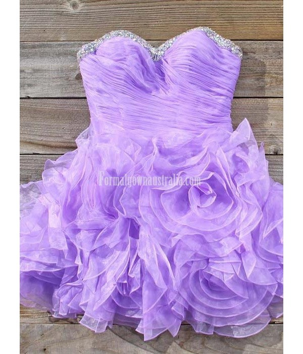 Stunning Short Purple Formal Homecoming Dress Ball Gown Strapless Beaded Waist Mini Prom Dresses Sweet 16 Party Gown New