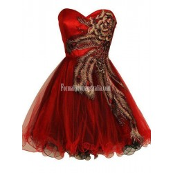 Gorgeous A Line Sweetheart Embroidery Beading Short Formal Cocktail Party Dress