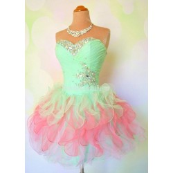 Short Puffy Mini Formal Homecoming Dresses Bling Bling Beaded Crystal Party Cocktail Dress Girl Custom Prom Gowns