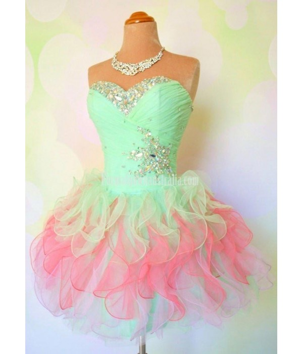 Short Puffy Mini Formal Homecoming Dresses Bling Bling Beaded Crystal Party Cocktail Dress Girl Custom Prom Gowns New