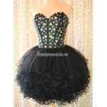 Simple-dress Stunning Gems Sparkle Black Tulle Mini Formal Homecoming Dress New