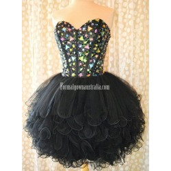 Simple Dress Stunning Gems Sparkle Black Tulle Mini Formal Homecoming Dress