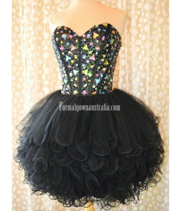 Simple-dress Stunning Gems Sparkle Black Tulle Mini Formal Homecoming Dress New