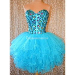 Simple-dress Stunning Gems Sparkle Black Tulle Mini Formal Homecoming Dress