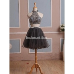 Simple-dress Handmade Two-pieces Short Sparkle Short Tulle Formal Dress Party Dress