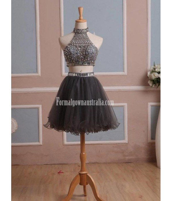Simple-dress Handmade Two-pieces Short Sparkle Short Tulle Formal Dress Party Dress New