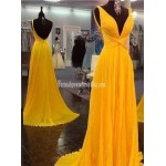 Long Formal Dress Prom Dress Bright Yellow Sleeveless V Neck Ruched Knot Waist Low V Back Chiffon Evening Gown New